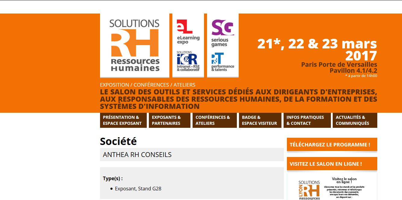 Anthea au salon solutions rh le 21 22 23 mars 2017 for Salon solutions rh